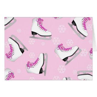 フィギュアスケート-ピンクは雪片とのアイススケートします グリーティングカード