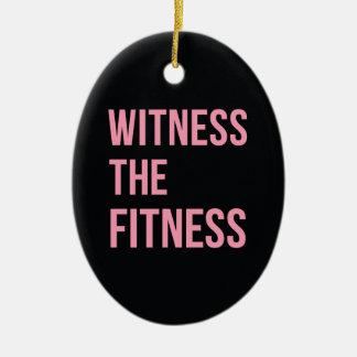 フィットネスのおもしろいな引用文の黒のピンクを目撃して下さい セラミックオーナメント