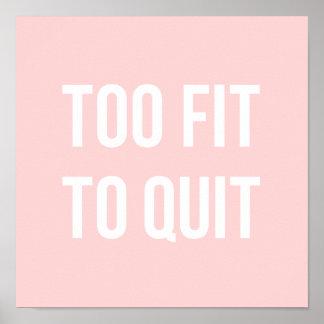 フィットネスの体育館の引用文ポスターは余りにピンクの白に合いました ポスター