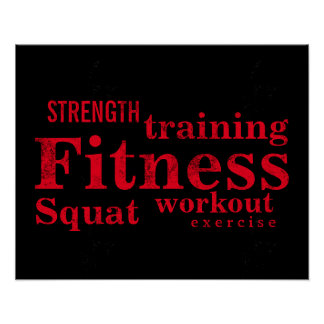 フィットネスの訓練のカッコいいの赤くはっきりしたな文字の体育館のトレーニング ポスター