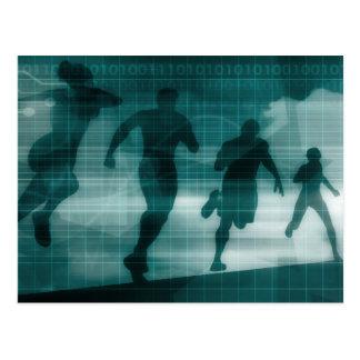 フィットネスAppの追跡者ソフトウェアシルエット ポストカード