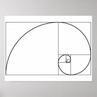 フィボナッチ螺線形の金比率 ポスター