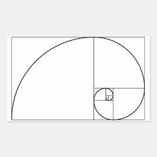 フィボナッチ螺線形の金比率 長方形シール