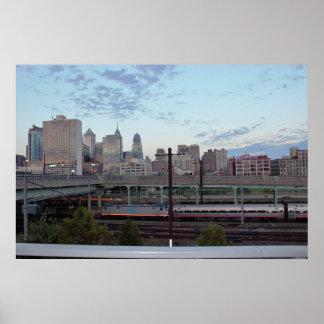 フィラデルヒィアのスカイラインの列車 ポスター
