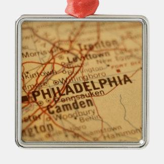 フィラデルヒィアのヴィンテージの地図 メタルオーナメント