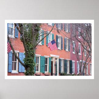 フィラデルヒィアの旗が付いている家 ポスター