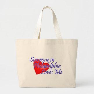 フィラデルヒィアの誰かは私を愛します ラージトートバッグ