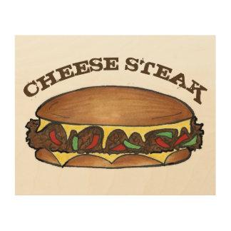 フィラデルヒィアのCheesesteakのチーズフィリー・サンドイッチ ウッドウォールアート