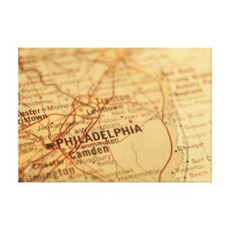 フィラデルヒィアのPAのヴィンテージの地図のプリント キャンバスプリント