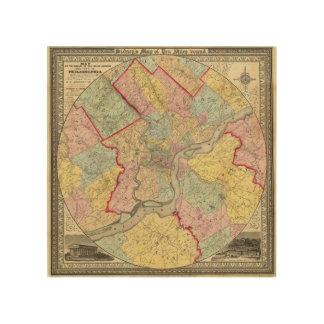 フィラデルヒィア市のまわりの地図 ウッドウォールアート