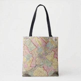 フィラデルヒィア市のまわりの地図 トートバッグ