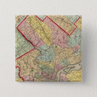 フィラデルヒィア市のまわりの地図 5.1CM 正方形バッジ