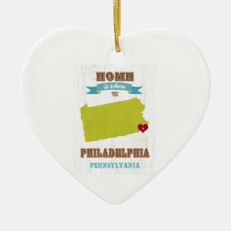 フィラデルヒィア、ペンシルバニアの地図-ところでがあります家 セラミックオーナメント