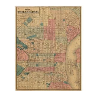 フィラデルヒィア、ペンシルバニアの地図 ウッドウォールアート