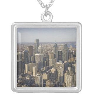フィラデルヒィア、ペンシルバニアの空中写真 シルバープレートネックレス