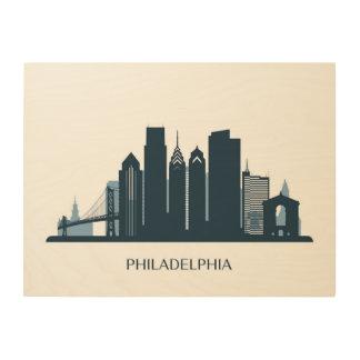 フィラデルヒィア、ペンシルバニア|の白黒都市 ウッドウォールアート