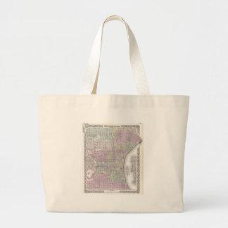 フィラデルヒィア(1855年)のヴィンテージの地図 ラージトートバッグ