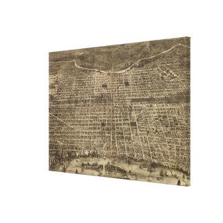 フィラデルヒィア(1872年)のヴィンテージの絵解き地図 キャンバスプリント
