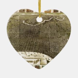 フィラデルヒィア(1885年)のBそしてM Birdseyeの地図 セラミックオーナメント