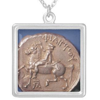 フィリップの銀貨MacedonのII シルバープレートネックレス