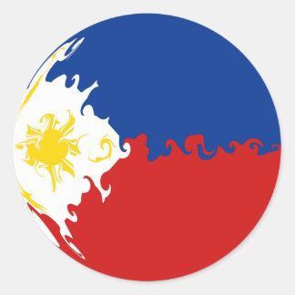 フィリピンのすごい旗 丸形シールステッカー