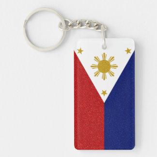フィリピンのグリッターの旗を個人化して下さい キーホルダー