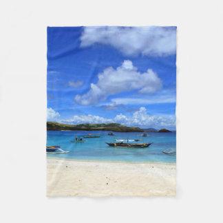 フィリピンのビーチ フリースブランケット