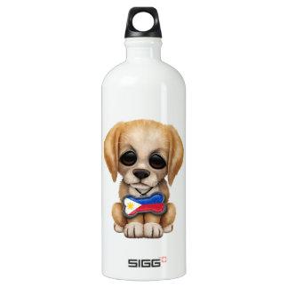 フィリピンの旗のドッグタッグを持つかわいい子犬 ウォーターボトル