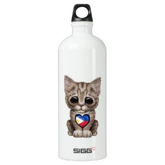 フィリピンの旗のハートのかわいい子ネコ猫 ウォーターボトル