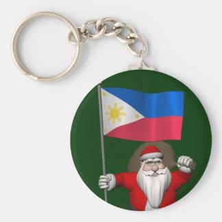 フィリピンの旗を持つサンタクロース キーホルダー