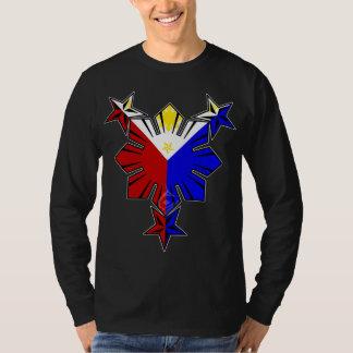 フィリピンの旗日曜日および星の長袖のワイシャツ Tシャツ