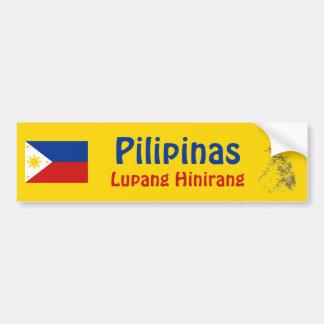 フィリピンの旗 + 地図のバンパーステッカー バンパーステッカー