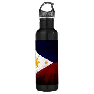 フィリピンの黒くグランジな旗 ウォーターボトル