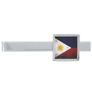 フィリピンの黒くグランジな旗 銀色 ネクタイピン