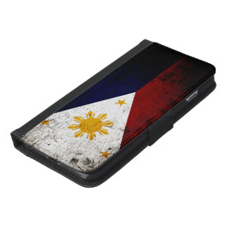 フィリピンの黒くグランジな旗 iPhone 6/6S PLUS ウォレットケース