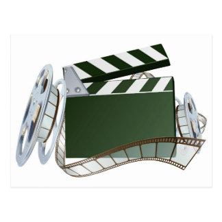 フィルム巻き枠およびカチンコの背景 ポストカード