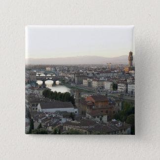 フィレンツェの眺めはからの都市提示の見落とします 5.1CM 正方形バッジ