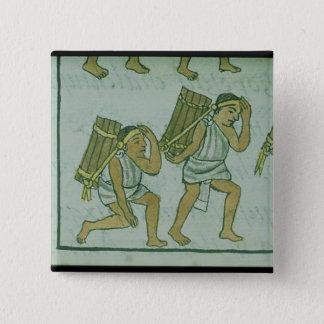 「フィレンツェのCodexからのアステカなポーター、 5.1cm 正方形バッジ