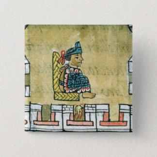 「フィレンツェのCodexからのMontezuma II、 5.1cm 正方形バッジ