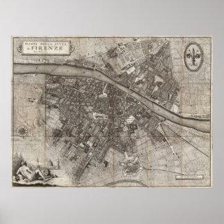 フィレンツェイタリアの1847年のMoliniの折たたみ地図 ポスター