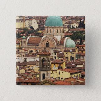 フィレンツェ、広場からのイタリアの眺め 5.1CM 正方形バッジ