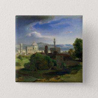 フィレンツェ、c.1829上の眺め 5.1cm 正方形バッジ