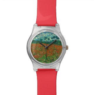 フィンセント・ファン・ゴッホのケシ分野の花のヴィンテージの芸術 腕時計
