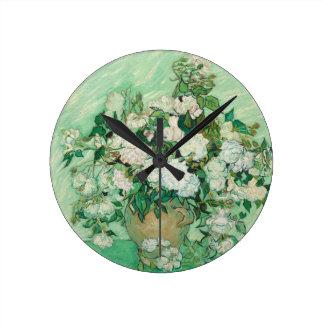 フィンセント・ファン・ゴッホのバラ ラウンド壁時計