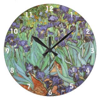 フィンセント・ファン・ゴッホのヴィンテージの花の芸術著アイリス ラージ壁時計