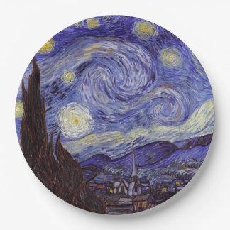 フィンセント・ファン・ゴッホの星明かりの夜ヴィンテージのファインアート ペーパープレート