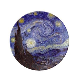 フィンセント・ファン・ゴッホの星明かりの夜ヴィンテージのファインアート 磁器プレート