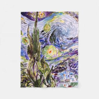 フィンセント・ファン・ゴッホの水彩画への星明かりの夜尊敬 フリースブランケット