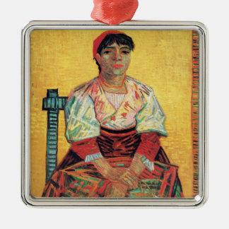 フィンセント・ファン・ゴッホを絵を描くイタリアンな女性のポートレート メタルオーナメント