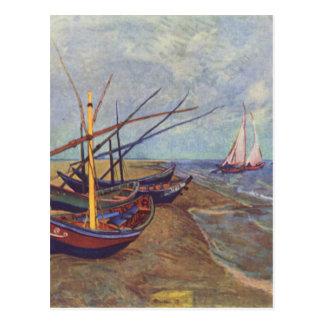フィンセント・ファン・ゴッホ著ビーチの漁船 ポストカード